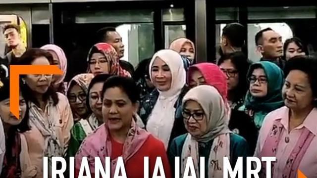 Ibu Negara Iriana Jokowi menjajal Moda Raya Terpadu (MRT) dari Stasiun Bundaran Hotel Indonesia (HI) ke Depo Lebak Bulus.