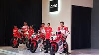 Astra Honda Racing Team (AHRT) mengumumkan 12 pembalap yang akan berjuang mengharumkan nama Indonesia di dunia balap internasional. (Bola.com/Zulfirdaus Harahap)