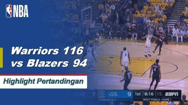 Stephen Curry mencetak 36 poin, termasuk sembilan 3 poin, ketika Golden State mengambil Game 1 dari WCF melawan Portland.
