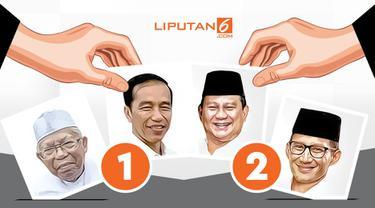 Banner nomor urut Jokowi dan Prabowo di Pilpres 2019