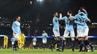 Manchester City menang 9-0 atas Burton pada laga leg pertama semifinal Piala Liga. (AFP/Paul Ellis)