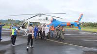 Helikopter ini tiba di Bandara Melonguane, Kabupaten Kepulauan Talaud, Jumat (29/01/2021), sekitar pukul 09.34 Wita.