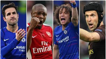 Kepindahan David Luiz ke Arsenal dari Chelsea menambah daftar pemain yang pernah membela kedua klub asal London dengan rivalitas tinggi itu. Berikut 7 pemain yang pernah membela Arsenal dan Chelsea.(Kolase foto AFP)