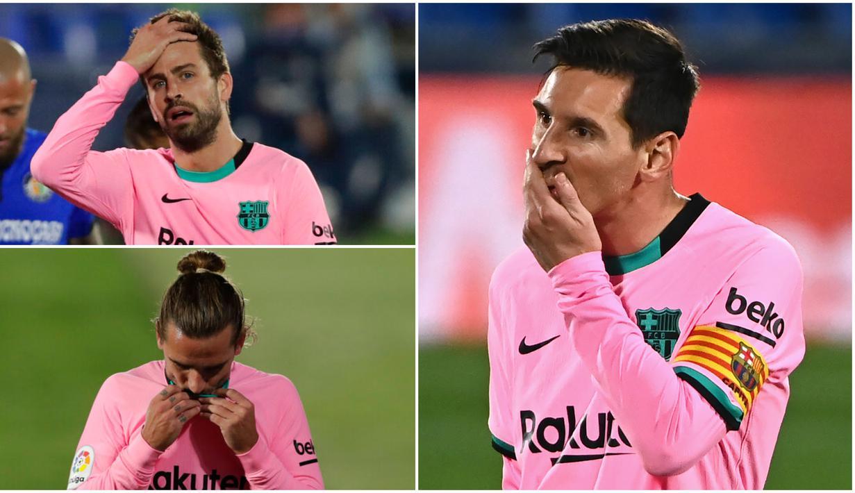 Para pemain Barcelona tak mampu menutupi kekecewaan usai dipaksa menelan kekalahan perdana di Liga Spanyol musim ini. Getafe sukses membuat Lionel Messi dkk tertunduk lesu.