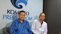 Managing Director Lion Group Daniel Putut Kuncoro Adi dan Dirjen Aptika Kemkominfo Semuel Abrijani Pangerapan menjelaskan tentang kasus kebocoran data penumpang Lion (Liputan6.com/ Agustin Setyo W)