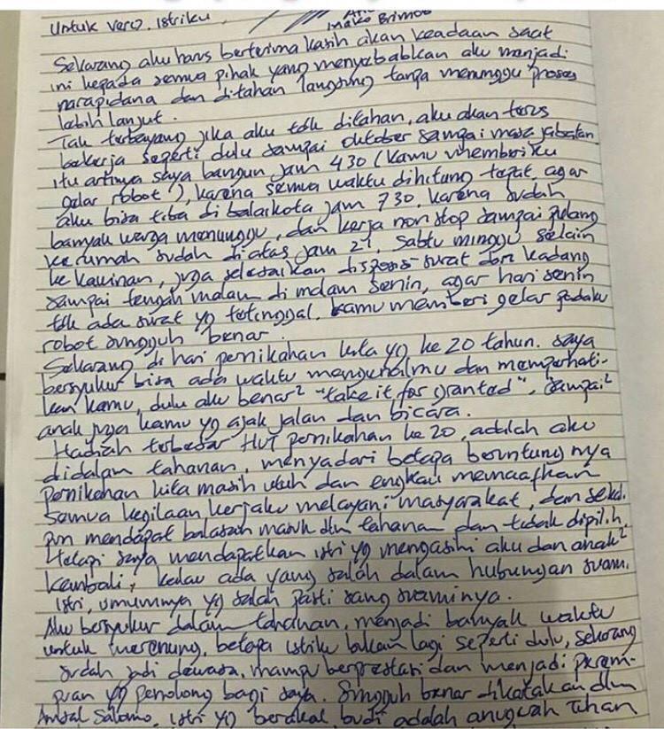 Surat cinta Ahok untuk Veronica sebagai hadiah ulang tahun ke-20 pernikahan mereka. (Istimewa)