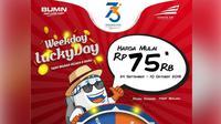 "Dalam rangka menyambut HUT ke-73 KA, PT Kereta Api Indonesia (Persero) memberikan tarif promo ""Weekday Lucky Day"" khusus untuk tiket hari Selasa dan Rabu."