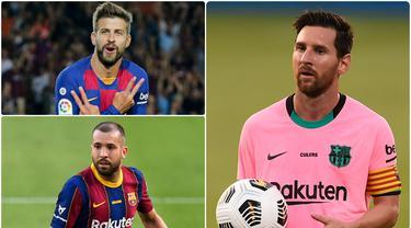 Kedatangan Ronald Koeman membawa perubahan mengejutkan di Barcelona dengan merombak skuadnya secara besar-besaran. Sejumlah pemain tua dilepas Koeman pada bursa transfer musim panas ini. Berikut Lionel Messi dan pemain tertua yang tersisa di Barcelona musim ini. (kolase foto AFP)