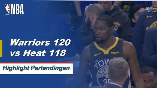 Kevin Durant mencetak skor 39 ketika Warriors mendapatkan kemenangan atas Heat, 120-118.