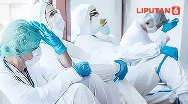 Ilustrasi para tenaga medis kelelahan perangi pandemi covid-19 (Liputan6.com / Abdillah)
