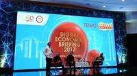 Menkominfo Rudiantara di Indosat Ooredoo Digital Economic Briefing 2017, Kamis (16/11/2017). (Liputan6.com/Jeko Iqbal Reza)