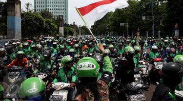 20161003-Demo Ojek Online, Gojek-Jakarta