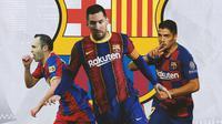 Barcelona - Andres Iniesta, Lionel Messi, Luis Suarez (Bola.com/Adreanus Titus)