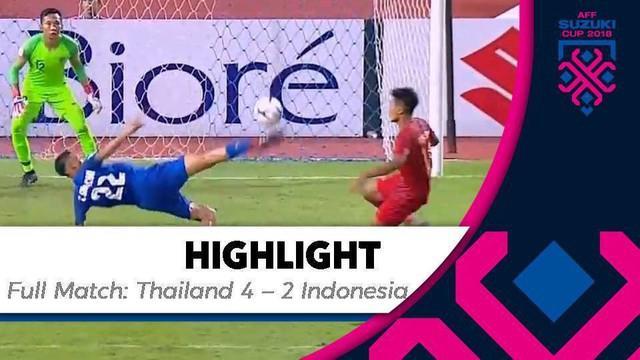 Berita video highlights Piala AFF 2018 antara Thailand melawan Timnas Indonesia yang berakhir dengan skor 4-2 di Stadion Rajamangala, Bangkok, Sabtu (17/11/2018).