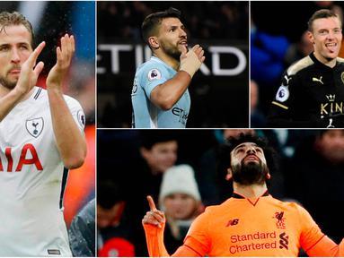 Berikut ini top scorer sementara Premier League musim 2017/2018 hingga pekan ke-27. Harry Kane masih teratas dengan torehan 23 gol. (Kolase foto-foto AP dan AFP)