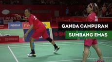 Berita video ganda campuran Indonesia raih emas setelah mengalahkan pasangan Thailand Saensupa / Srinavakul dengan skor 21-8, 21-6.