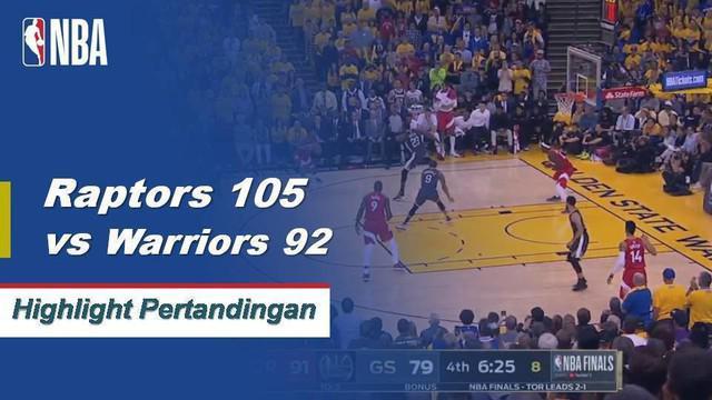 Kawhi Leonard mencetak 36 poin dalam kemenangan Raptors atas Warriors dengan skor akhir 105-92, Raptors memimpin 3-1 di NBA Finals 2019.