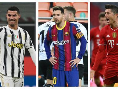 Liga-liga di Eropa serentak menyisakan satu partai lagi untuk mengakhiri musim 2020/2021 ini. Masing-masing liga mencatat para striker tajam yang berpeluang memperoleh Sepatu Emas Eropa, penghrgaan bagi pencetak gol terbanyak di liga-liga Eropa. Simak 5 kandidatnya. (Kolase Foto AFP)