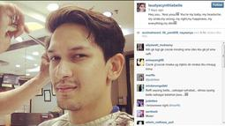 Pada 27 November 2014, Laudya Cynthia Bella tampak mengunggah foto Dimas yang tengah mencukur rambut di barber shop dengan caption yang romantis. (instagram.com/laudyacynthiabella)
