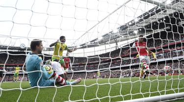 Gol tunggal Arsenal dicetak oleh Pierre-Emerick Aubameyang pada menit ke-66. Pierre-Emerick Aubameyang layak dinobatkan sebagai pemain terbaik alias Man of the Match pada laga tersebut. (Foto: AFP/Daniel Leal-Olivas)