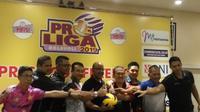Suasana jumpa pers jelang babak final Proliga 2019 (Switzy Sabandar/Liputan6.com)