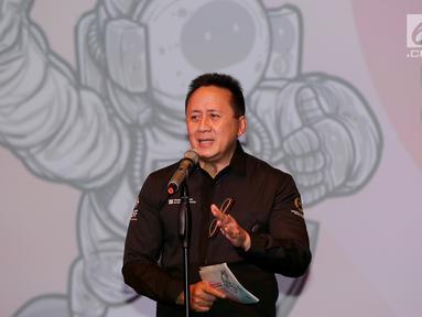 Kepala Badan Ekonomi Kreatif (Bekraf) Triawan Munaf memberi sambutan menjelang Festival South by Southwest (SXSW) dan Game Connection America (GCA) 2019 yang akan digelar di Amerika Serikat, di Jakarta, Selasa (26/2). (Liputan6.com/Fery Pradolo)