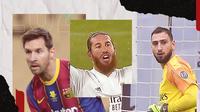 Lionel Messi, Sergio Ramos dan Gianluigi Donnarumma. (Bola.com/Dody Iryawan)