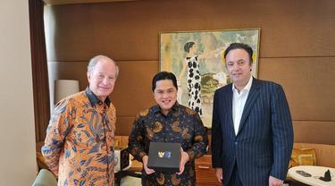 Menteri BUMN Erick Thohir bertemu dengan salah satu founder Dufry, Luis Andres N Holze di sela kunjungan kerja di Amerika Serikat (AS). (Foto: Dok Istimewa)