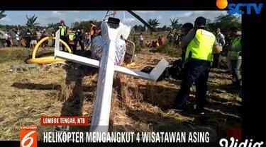 Helikopter naas ini terbang dari Ungasan, Bali, menuju Bandara Internasional Lombok di Labuan Bajo.