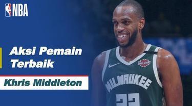 Berita video aksi-aksi dari bintang Milwaukee Bucks, Khris Middleton, pada game 3 semifinal wilayah timur NBA Playoffs 2021 hari ini, Jumat (11/6/2021) pagi hari WIB.