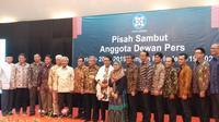 Acara pisah sambut pengurus lama dan baru Dewan Pers, Jakarta, Rabu (12/6/2019). (Liputan6.com/Ika Defianti)