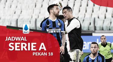 Berita motion grafis Jadwal Liga Italia 2020/2021 pekan ke-18, Inter Milan hadapi Juventus.