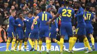 Selebrasi pemain Chelsea usai mencetak gol ke gawang Nottingham Forest. Chelsea menang 2-0 pada babak ketiga Piala FA, Minggu (5/1/2020).