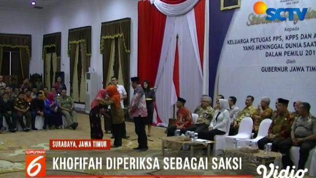 Gubernur Jatim Khofifah Indar Parawansa diperiksa penyidik KPK dalam kapasitas sebagai saksi.