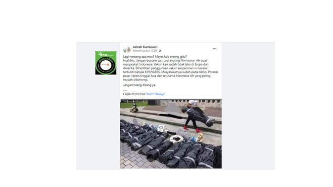 Cek Fakta Liputan6.com menelusuri klaim foto syuting film horor agar masyarakat Indonesia mau divaksin
