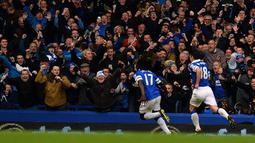 Selebrasi Romelu Lukaku pada pertandingan sepak bola Liga Inggris antara Everton melawan Liverpool di Goodison Park, Liverpool, Sabtu (23/11/2013). (AFP/Paul Ellis)