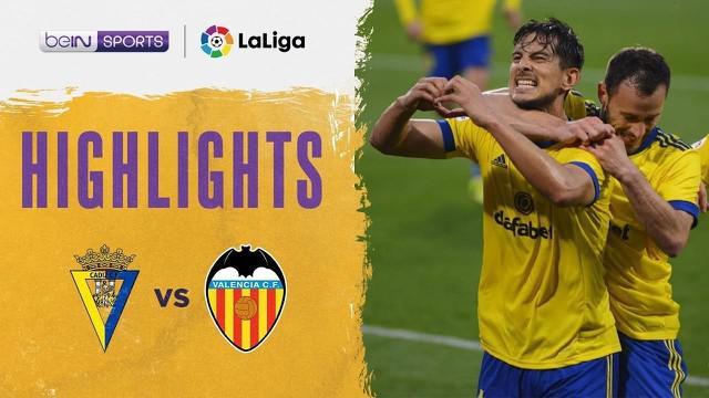 Berita video highlights laga pekan ke-29 Liga Spanyol 2020/2021, Cadiz kontra Valencia, yang sempat terhenti karena adanya aksi rasisme di lapangan, Minggu (4/4/2021) malam hari WIB.