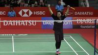 Ganda putra Indonesia, Mohammad Ahsan, merayakan kemenangan atas ganda China pada Indonesia Masters 2019 di Istora Senayan, Jakarta, Sabtu (26/1). Ahsan / Hendra lolos ke final. (Bola.com/Yoppy Renato)