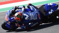 Pembalap Movistar Yamaha, Maverick Vinales, hanya finis di posisi kedelapan pada MotoGP Italia di Sirkuit Mugello, Minggu (3/6/2018). (Twitter/Yamaha MotoGP)