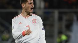 Alvaro Morata tampil impresif dengan dua golnya pada laga kedua Kualifikasi Piala Eropa 2020 yang berlangsung di Stadion Ta Qali, Malta, Rabu (27/3). Spanyol menang 2-0 atas Malta. (AFP/Filippo Monteforte)