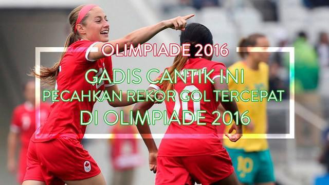 Janine Beckie striker Kanada berhasil memecahkan rekor gol tercepat Olimpiade dalam waktu 19 detik melawan Australia di penyisihan grup F
