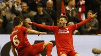 Adam Lallana rayakan gol ketiga Liverpool ke gawang Villarreal (reuters)