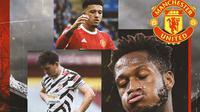 Manchester United - Harry Maguire, Jadon Sancho, Fred (Bola.com/Adreanus Titus)
