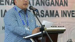 Menteri PPN/Kepala Bappenas Bambang Brodjonegoro memberi sambutan dalam pertemuan kerja sama investasi di Bali, Sabtu (13/10). Pertemuan tersebut diadakan di sela pertemuan tahunan IM-Bank Dunia 2018. (Liputan6.com/Angga Yuniar)