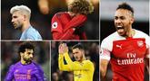 Pierre-Emerick Aubameyang dan Mohamed Salah berada di puncak top scorer sementara Premier League dengan 10 Gol. Berikut pemain yang masuk bursa pencetak gol terbanyak liga Inggris. Diantaranya, Sergio Aguero dan Eden Hazard. (Foto Kolase AP dan AFP)
