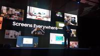 Jong-hee Han, President Visual Displays Samsung Electronics saat sesi keynote di CES 2020. (Liputan6.com/ Dyah Puspita Wisnuwardani)