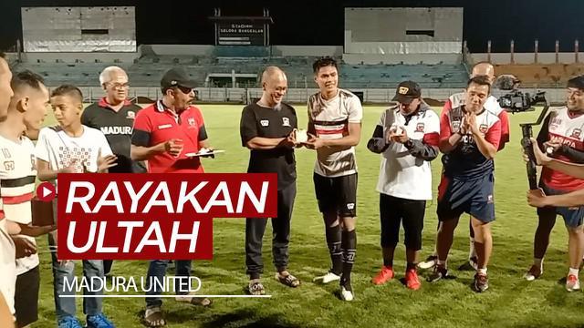 Berita video momen skuat Madura United merayakan ultah (ulang tahun) setelah melakoni latihan perdana pada musim baru.