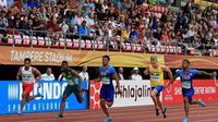 Pelari muda Indonesia, Lalu Muhammad Zohri (kiri) pada lomba Kejuaraan Dunia Atletik U-20 2018 di Finlandia, Rabu (11/7/2018). (Twitter/Lalu Muhammad Zohri)