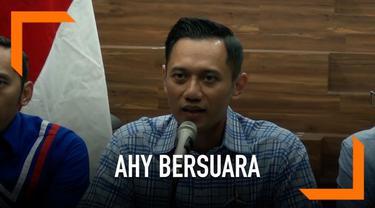 DPP Partai Demokrat menggelar konferensi pers Rabu (17/4) malam, menanggapi hasil sementara perhitungan cepat. Disampaikan komndan Kogasma DPP Partai Demokrat, Agus Harimurti Yudhoyono.