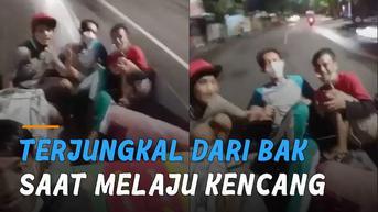 VIDEO: Duh, Pemuda Terjungkal Dari Bak Saat Pick Up Melaju Kencang